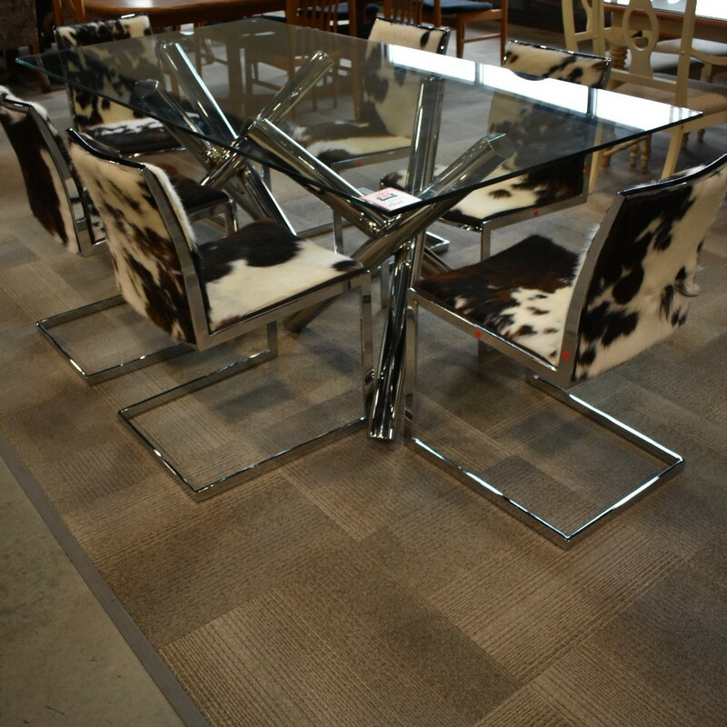Glass Top Table + 6 Chair.
