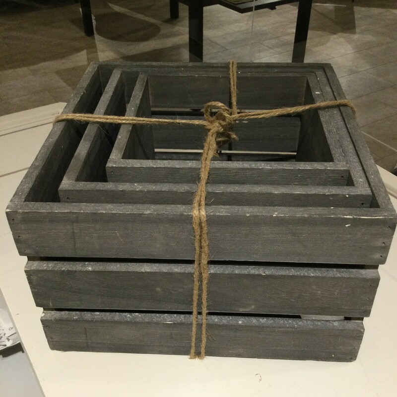 Wooden Crates<br /> Grey<br /> Set Of 3