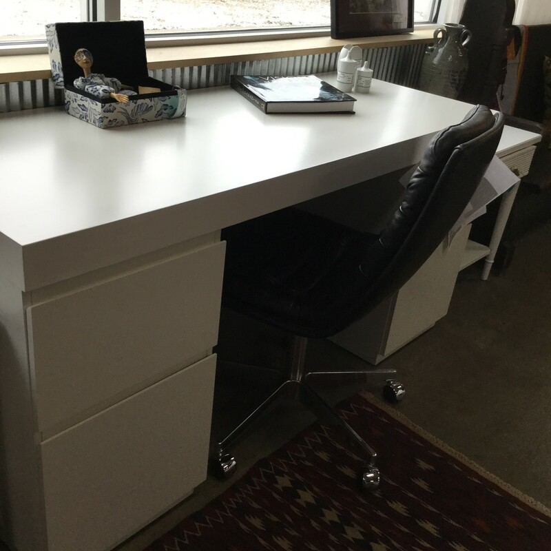 "West Elm Parsons Desk, White, 2 Drawer, Size: 62""X24""X31"""