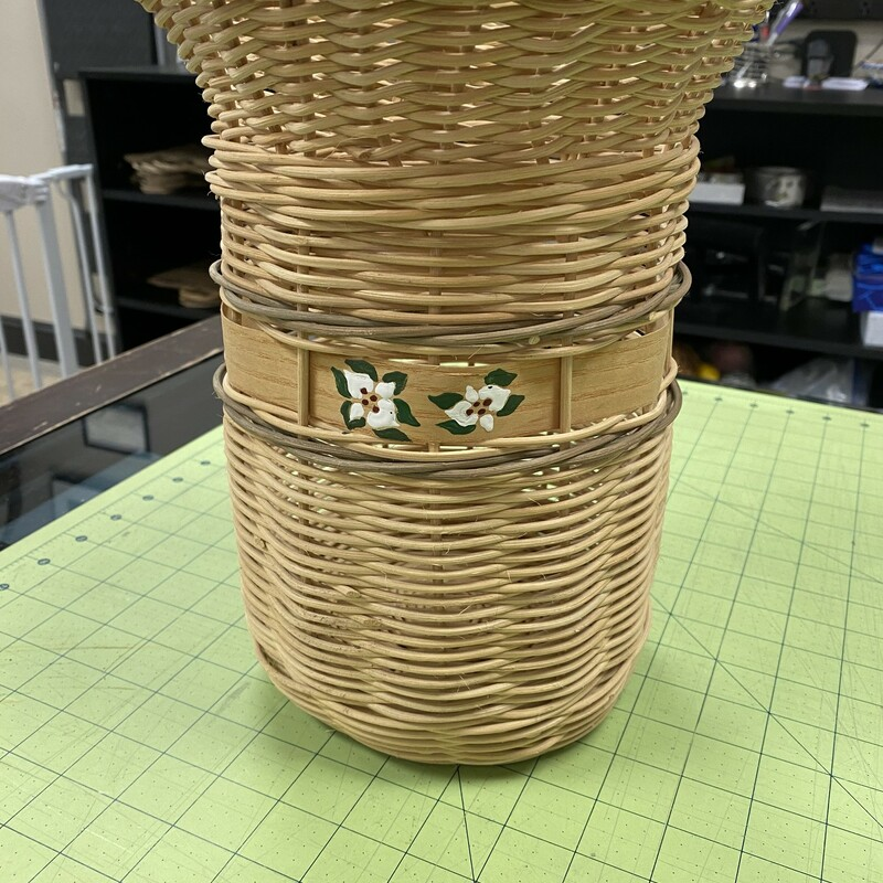 Floral Painted  Tall Basket, Beige, Size: 8x11 Inch