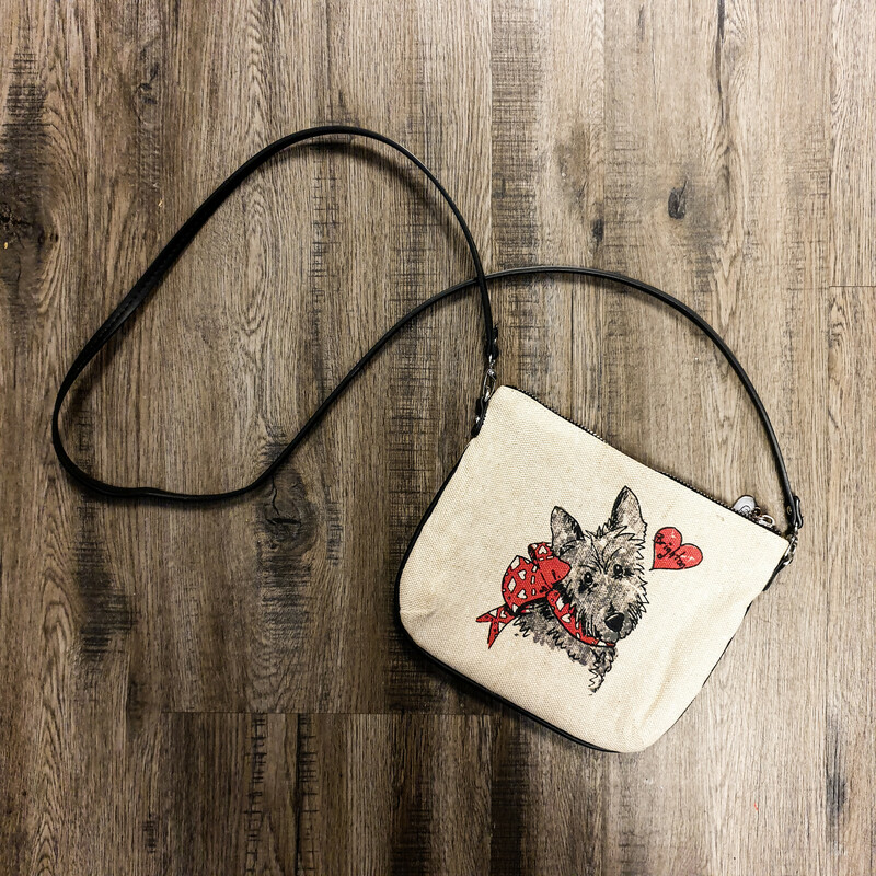 Beautiful Brighton Crossbody.<br /> - Tan, black and red color<br /> - Dog and lady prints<br /> - Zip-top closure<br /> - Removable shoulder strap with 24 in. drop<br /> - Interior features: one zip pocket<br /> - W: 8.5 in. H: 7.5 in. D: 0.5 in.<br /> <br /> * Please note that these measurements and pictures are for reference only and may vary slightly from the original.
