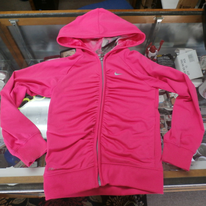 Nike Dri-Fit YOUTH hoodie pink size 5 polyester blend #26271<br /> Rating: (see below) 3- Good Condition<br /> Team: n/a<br /> Player: n/a<br /> Brand: Nike<br /> Size: Girl&#039;s 5-  (Measured: 12&quot; Wide, length 17&quot;)<br /> Measured: Armpit to armpit; shoulder to hem<br /> Color: pink<br /> Style: long sleeve; embroidered<br /> Material: 88% polyester 12% spandex<br /> Condition: 3- Good Condition: minor wear, slightly stretched from use, minor dirt stains on sleeves (see photos)<br /> Item #: 26271<br /> Shipping: FREE