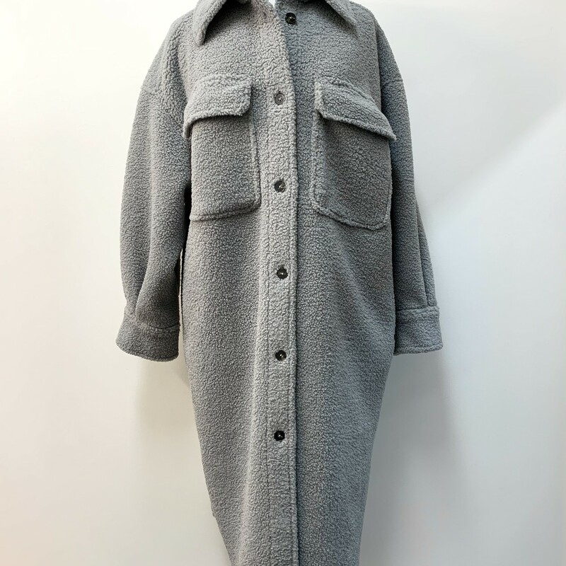 NEW H&M Long Jacket<br /> Light Gray Faux Shearling<br /> Size: Large
