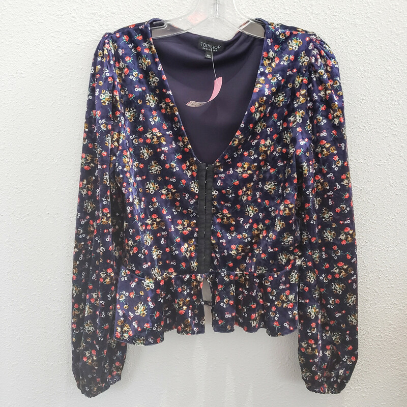Topshop<br /> Navy Velvet Floral Print Top<br /> Hook and Eye Front Closures<br /> Size: 8