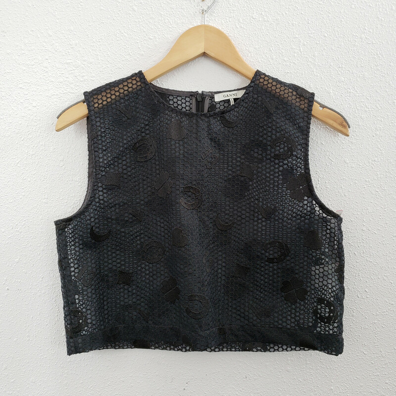 Ganni<br /> Crop Top<br /> Black with Lucky Symbols on it<br /> Size: Small