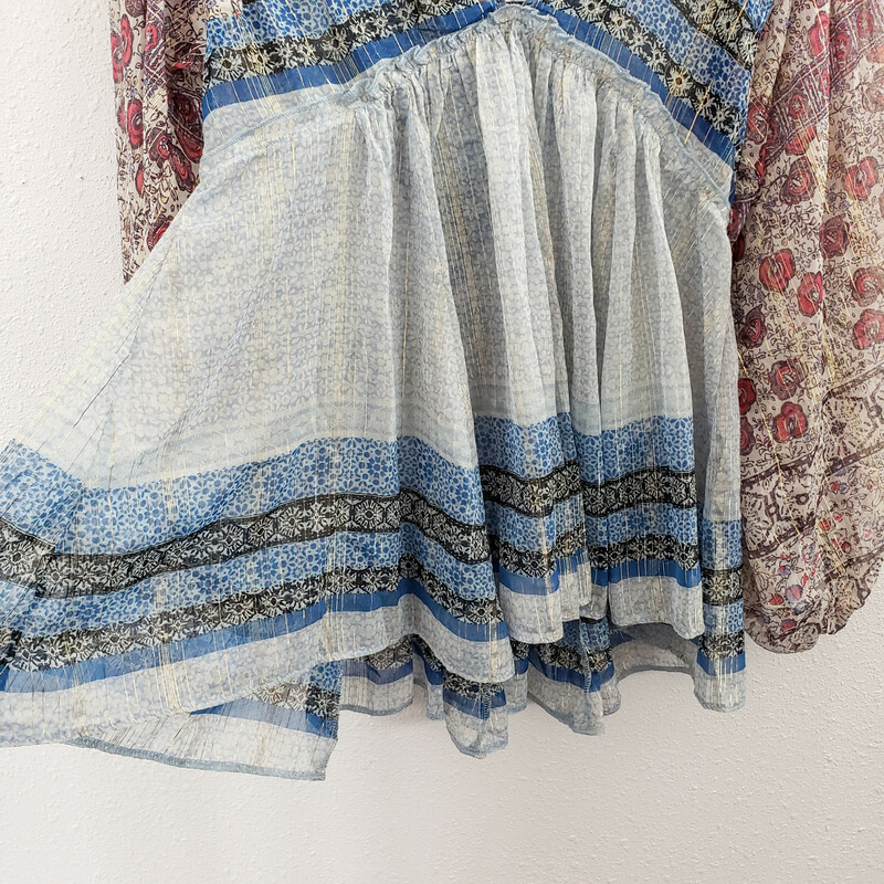 Free People<br /> Blues and Pinks with Metallic Thread Accents<br /> Size: XS<br /> NWT<br /> Original Retail $128