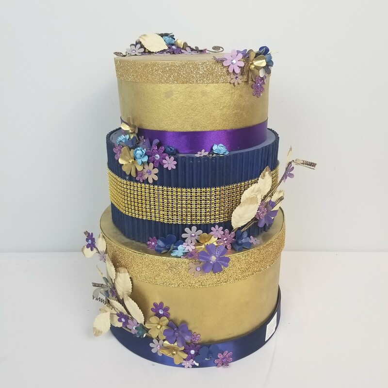 3 Tier Card Box, Gold/Navy, Size: 10x14.5