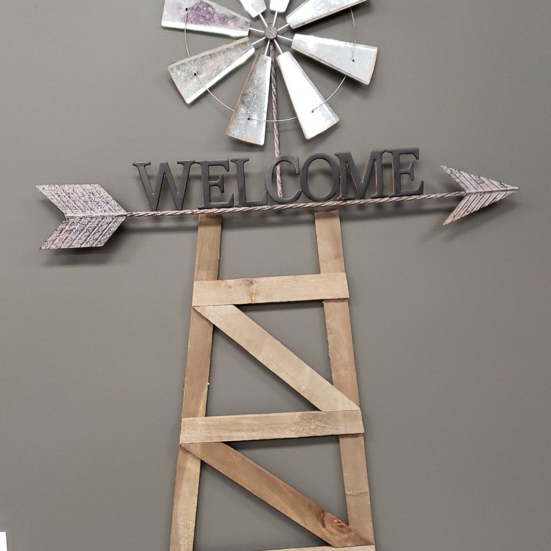 """Welcome Arrow Windmill""<br /> This is an extremely amazing WELCOME to your home piece. Let your friends and family say ""WOW""<br />      This piece is 46"" Long and 29"" Tall- $65.00<br />    Made out of all weather proof galvanized metal"