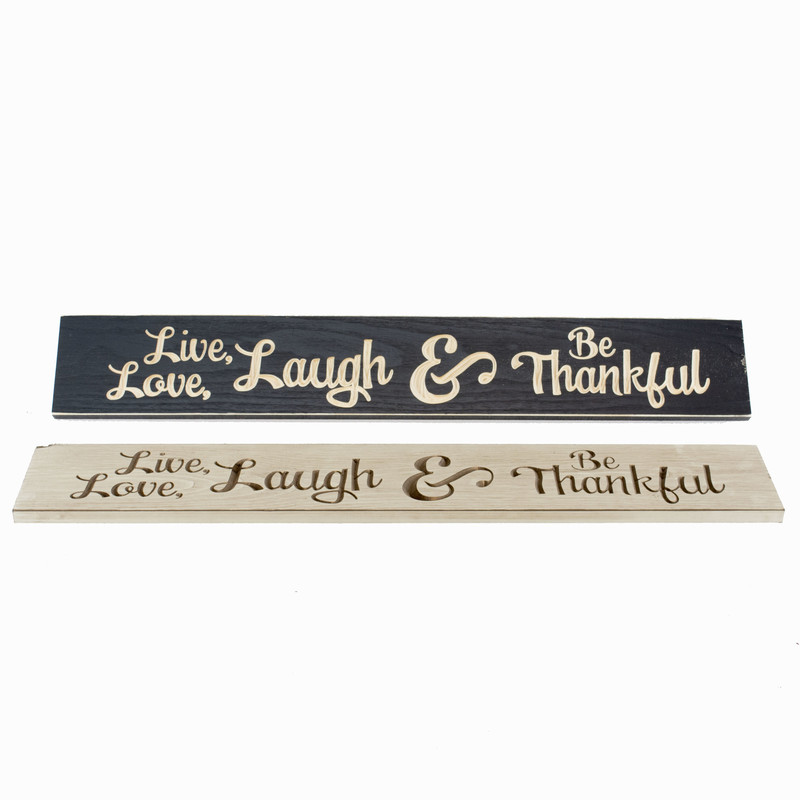 Wood Sign<br /> Be Thankful<br /> 36&quot; long x 6&quot; tall<br /> available in either tan or black
