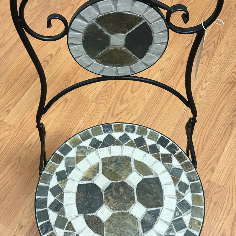 "Folding Metal/stone Chair, Mosaic<br /> Size: 37"" x 17"" x 16"""