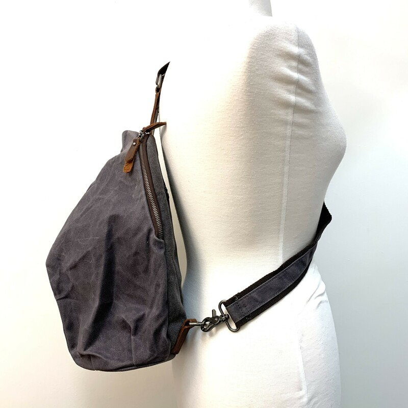 CB Station Slingback Bag<br /> Waxed Canvas<br /> Slate canvas & leather