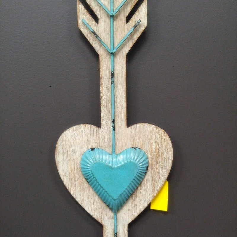 Heart Arrow<br /> Teal with wood and metal<br /> 36&quot; tall x 11&quot; wide