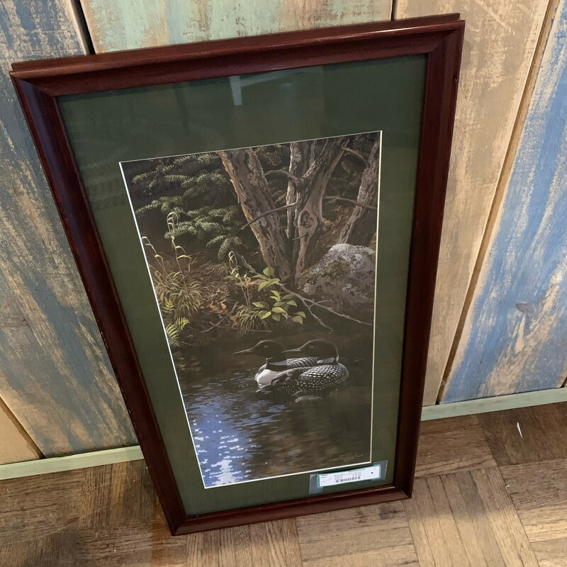 Beautiful Loons Picture<br /> Size: 13 X 25<br /> Signed photo by Persis Clayton Weirs in a matted and framed photo