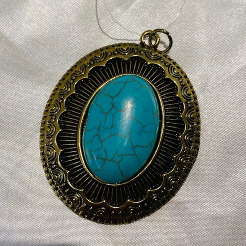 Oval Turquoise Pendant.