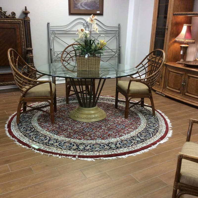 "This oriental rug is lovely! It is round with a diameter of 96"". It has a varied color palette full of blues from navy to light, burgundy, sage green, tan, cream and rose."