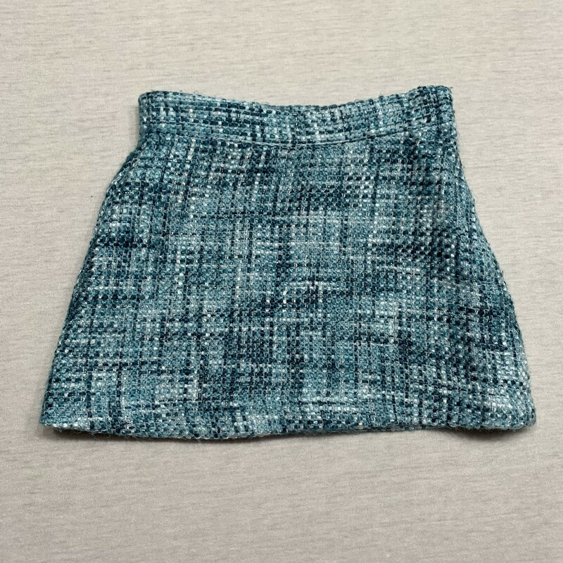 Teal boucle skirt with satin lining