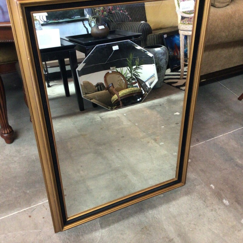 "Med Gold Wood Mirror, Gold, Wood<br /> 29"" wide x 41\"" tall"