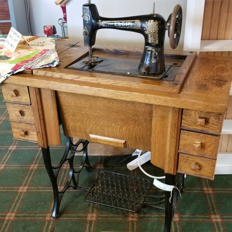 Vintage Elgin Treadle Sewing Machine<br /> Beautiful Oak Case - All Parts<br /> $250