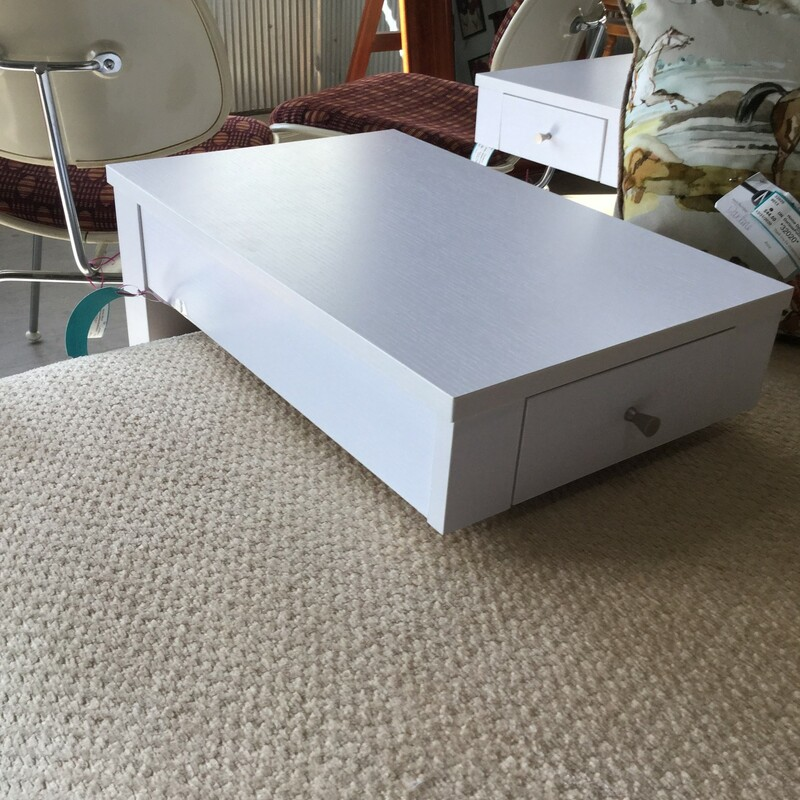 "White C Table, Drawer, 2 Available, Size: 12""X18""X24"""