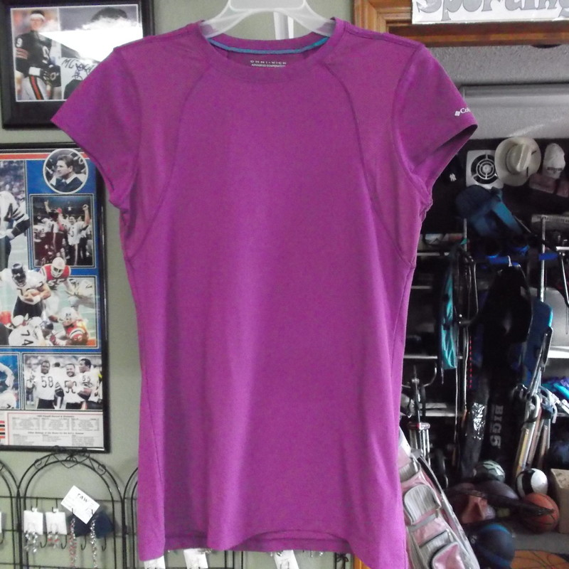 Columbia advanced evaporation Omni Wick women&#039;s shirt purple size Med Polyester #7975<br /> Rating:   (see below) 3 - Good Condition<br /> Team: N/A<br /> Player: N/A<br /> Brand: Columbia<br /> Size: Medium Women&#039;s(MEASURED FLAT - Chest 16&quot;; Length 25&quot;) armpit to armpit &amp; top of shoulder to bottom hem<br /> Color: Purple<br /> Style: Athletic shirt; short sleeve; omni-wick; advanced evaporation<br /> Material: 90 polyester; 10 elastane<br /> Condition: - Good Condition - wrinkled; fuzz and pilling on the fabric; No rips or holes; material is very slightly faded; very faint minor white marks on the front center; small stain lower L back near the hem (See Photos for condition and description)<br /> Shipping: $3.37<br /> Item#: 7975