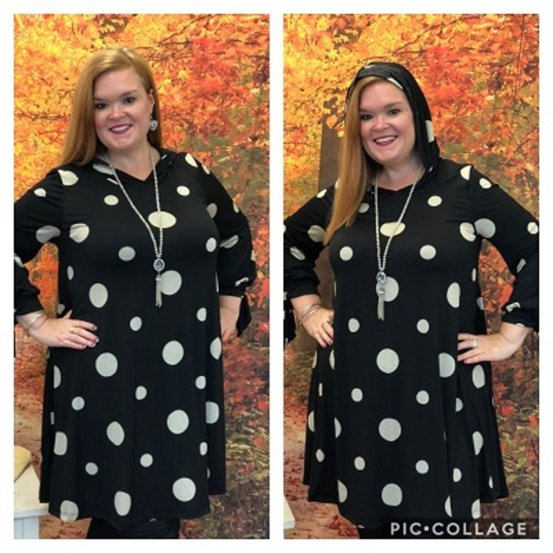 Check out our gorgeous Ribbon Sleeve Polka Dot Dress. This would be a perfect dress for the holidays as a gift for yourself or someone else. The material is made of 92% Polyester 8% Spandex with a length of 36in and it has a hood!