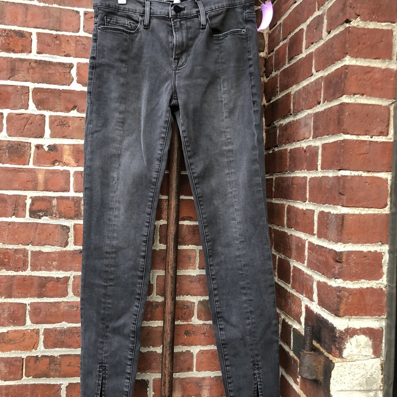 Frame Denim Skinny Jean, Gray, Size: 27<br /> front lower slit, very hip!! kind of a washed dark gray
