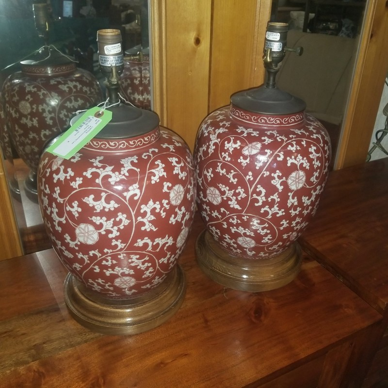 Pair Maroon/white Lamps, None, Size: None