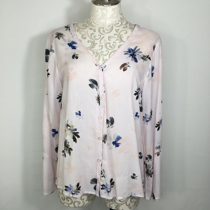 107-048 Side Stitch Los A, Floral, Size: Small Floral V-Neck Button Up 100% Rayon