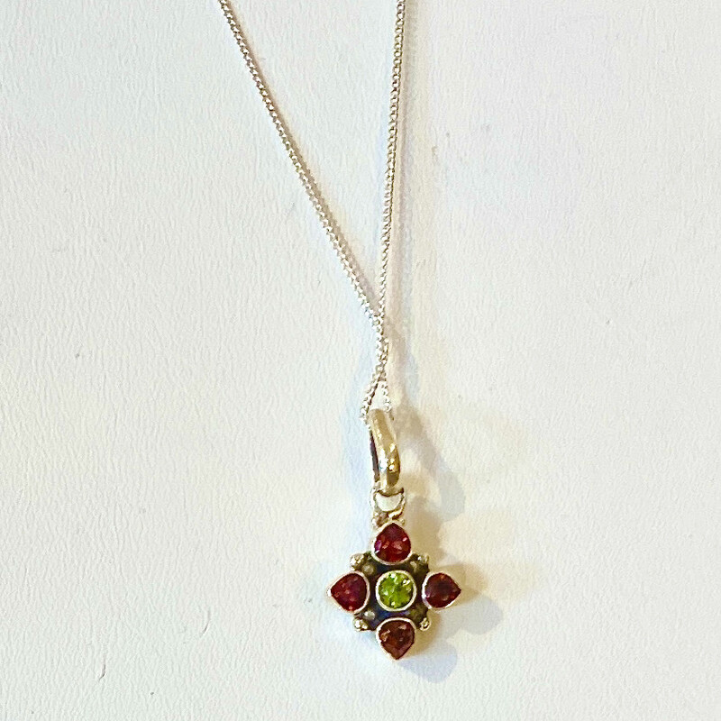 Sterling necklace with green and red stones