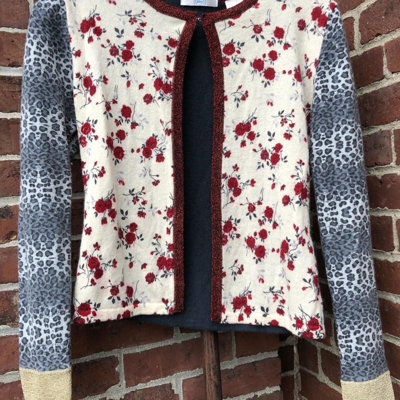 Play Cardigan, Floral A, Size: Small<br /> lambswool & angora blend