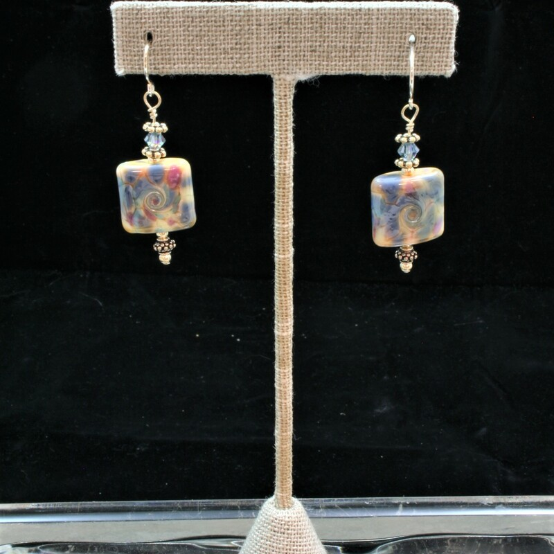 From The Mystic Swirls collection of Gladmist Glass Design. Hand torched glass bead earrings with Sterling Silver and Swarovski crystals.