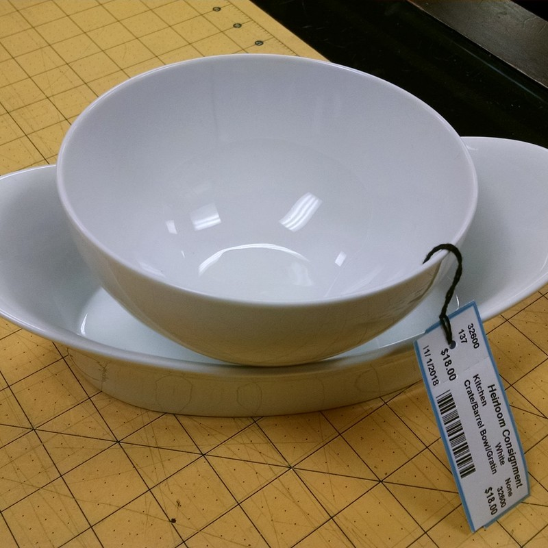 Crate/Barrel Bowl/Gratin, White, Size: None