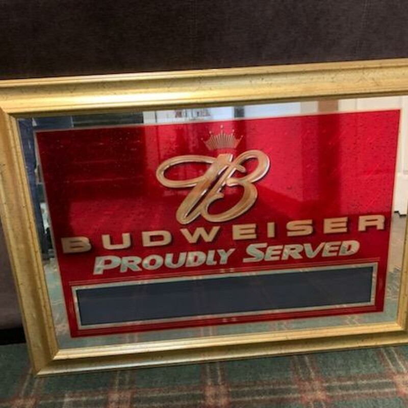 "The perfect mancave addition!<br /> Vintage Budweiser Sign/Mirror, Gold And Red Size: 35"" X 25"""