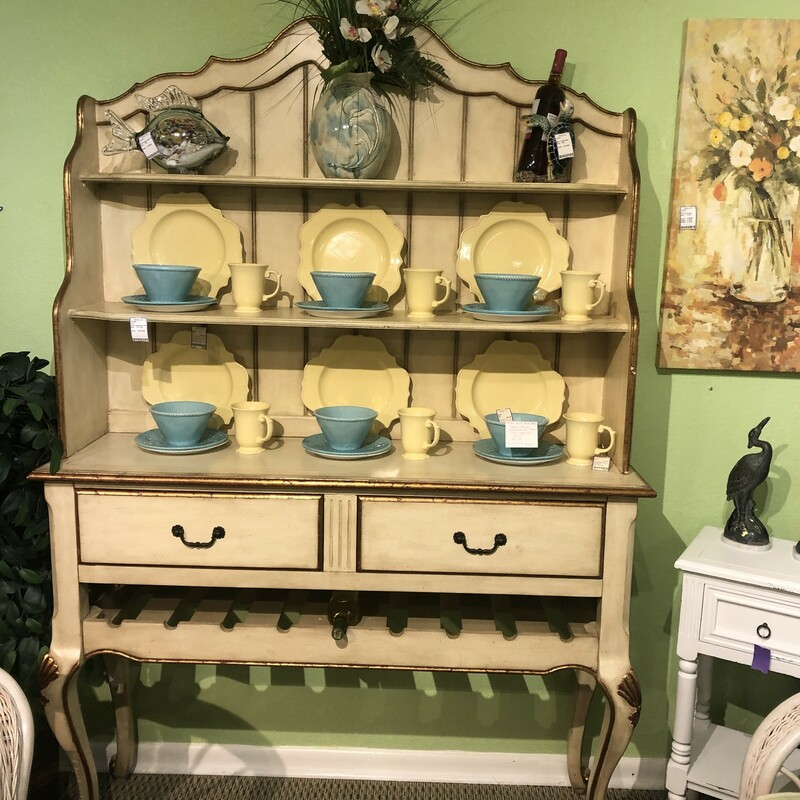 Cream Sideboard With Wine & Plate Display Rack. Used, Size: 2 Pc Unit