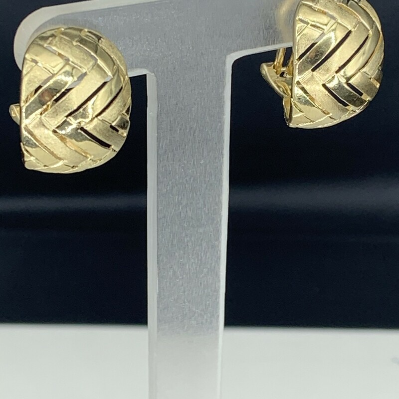Chevron Design Hoop Earrings with Clip Post Backs<br /> 14 Karat Yellow Gold<br /> 14.5mm Wide