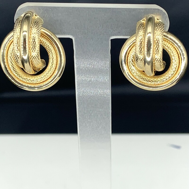 Doorknocker Earrings<br /> Mesh and Polished Combination<br /> 14 karat Yellow Gold<br /> Post Backs