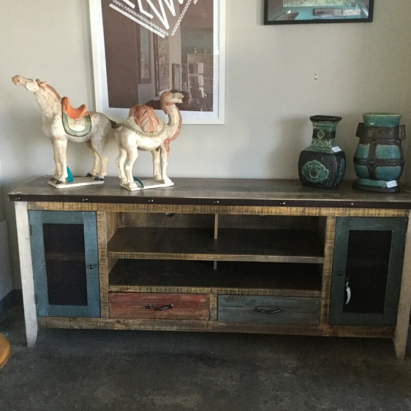 "Rustic Console, Multi Stained Wood, Size: 76""X18\""X32\"""