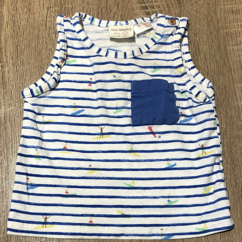 Zara Baby Boy Tank Top, Striped, Size: 9-12M