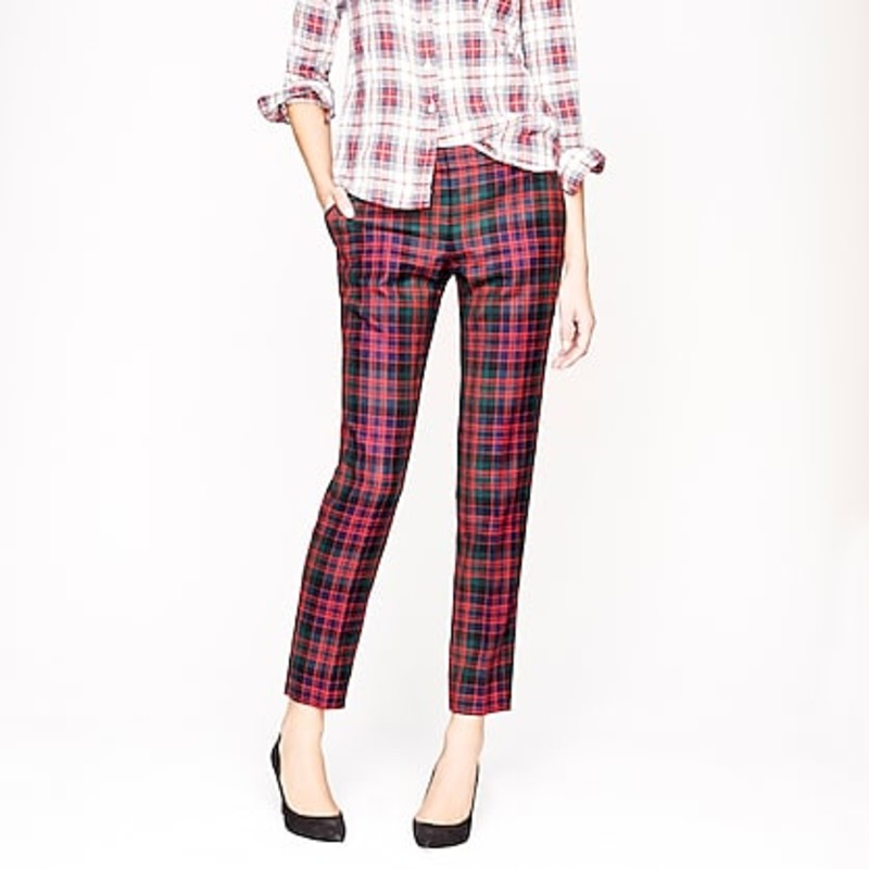 J. Crew Café capri in red tartan size 6 like new condition.