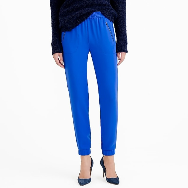 "J. crew NWT navy turner Pant in size 2.  Orig. rtl: $98<br /> <br /> ""    Sits lower on hips.<br />     Relaxed through hip and thigh, with a tapered leg.<br />     27"" inseam.<br /> <br /> Overall FitBased on user reviews<br /> Runs Small<br /> True to Size<br /> Runs Large<br /> <br /> We took a classic lounge pant (think an elastic waist and ankle cuffs) and dressed it up for work (and cocktails after) with heavy matte crepe. So it's like you're wearing pj's to the office, but not.<br /> <br />     Poly.<br />     Elastic waist.<br />     Front-zip pockets.<br />     Cuffed.<br />     Dry clean.<br />     Import.<br />     Item B0587.""<br /> <br /> Photo and description credits: jcrew.com"