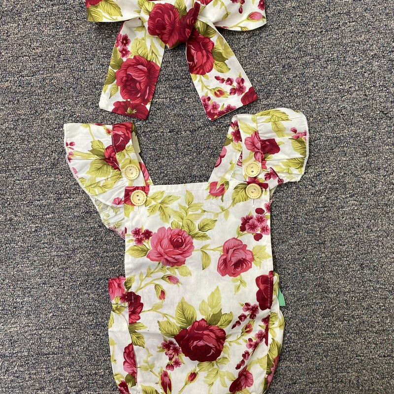 Floral With Headband, Rose, Size: 18M