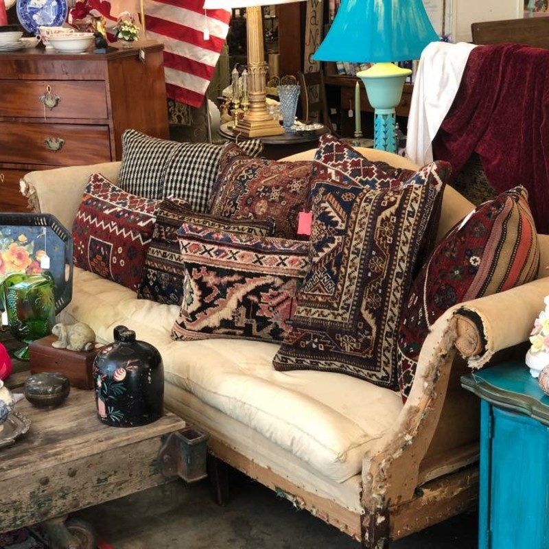 Beautiful pillows made from retired antique Persian rugs.