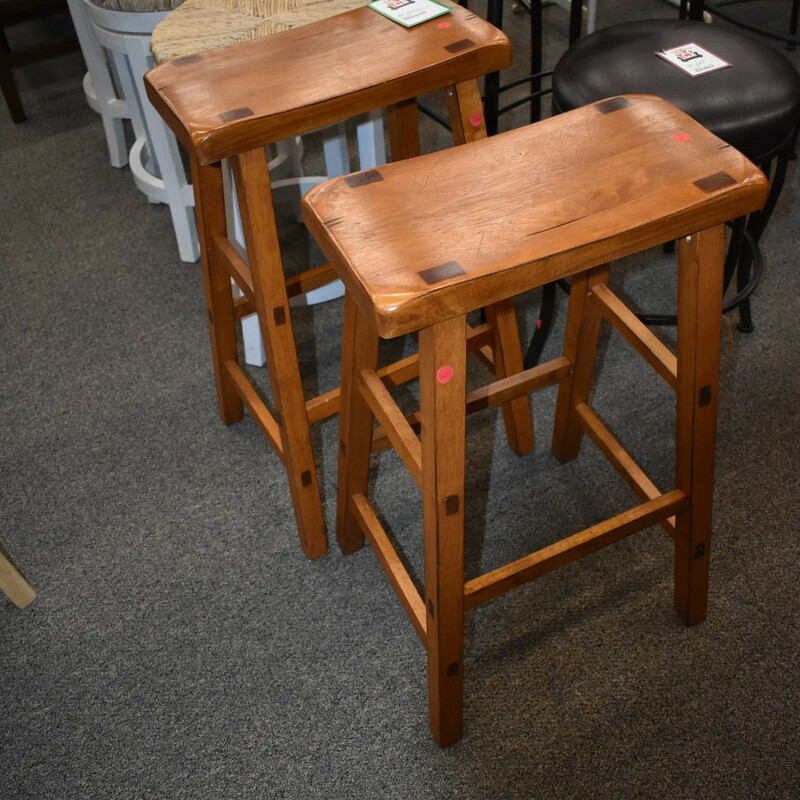 Pair Wood Bar Stools.