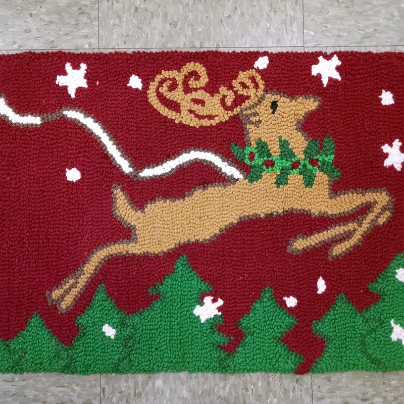 Hooked Xmas Scatter Rug, Multi, Size: None