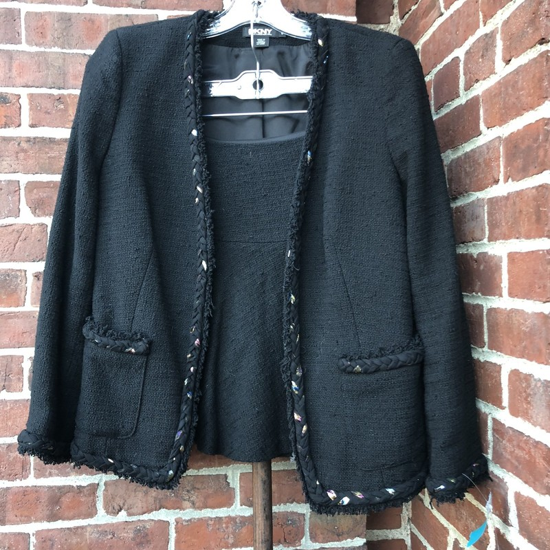 DKNY Boucle Jacket 6, Black, Size: 6<br /> ranom metallic stitching accents. Retaill over $400<br /> Short A line skirt is size 8, jacket is size 6