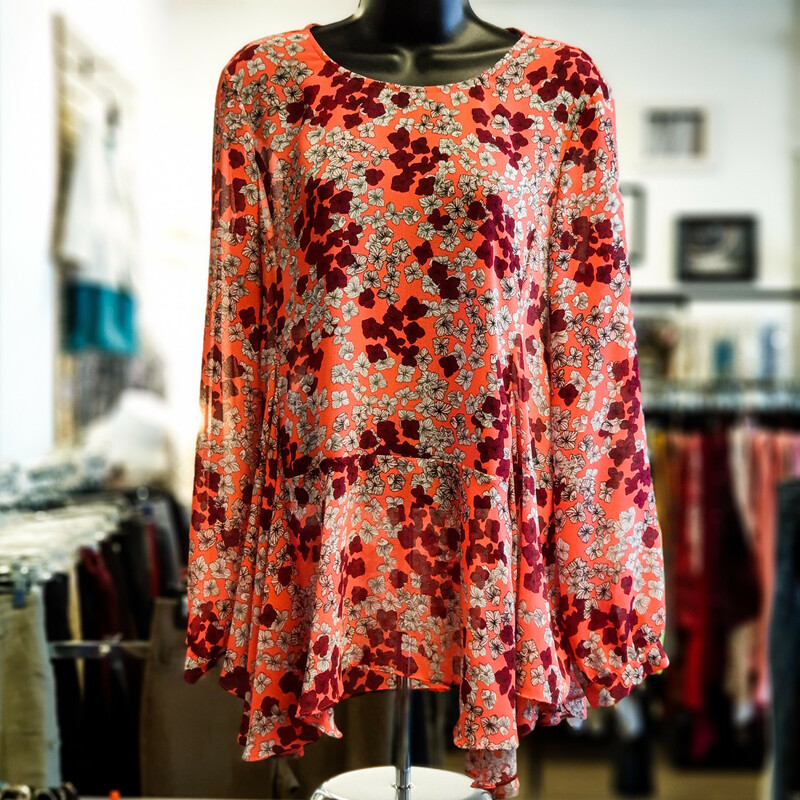 Beautiful CeCe Top.<br /> - Neon pink color<br /> - Red and white flower print<br /> - Back button<br /> - Flowy<br /> - Bust circumference: 40 in.<br /> - Length: 27 in.<br /> - Sleeves length: 23 in.<br /> - Size Medium<br /> <br /> * Please note that these measurements and pictures are for reference only and may vary slightly from the original.