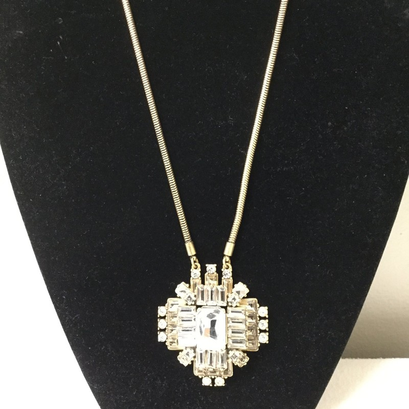 J.Crew Crystal Pendant Necklace<br /> Gold<br /> $18.00