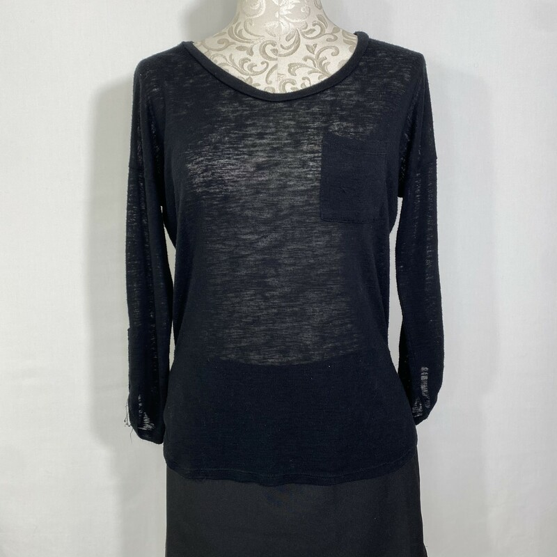 Charlotte Russe Sweater, Black, Size: Medium light sweater top with pocket in the front
