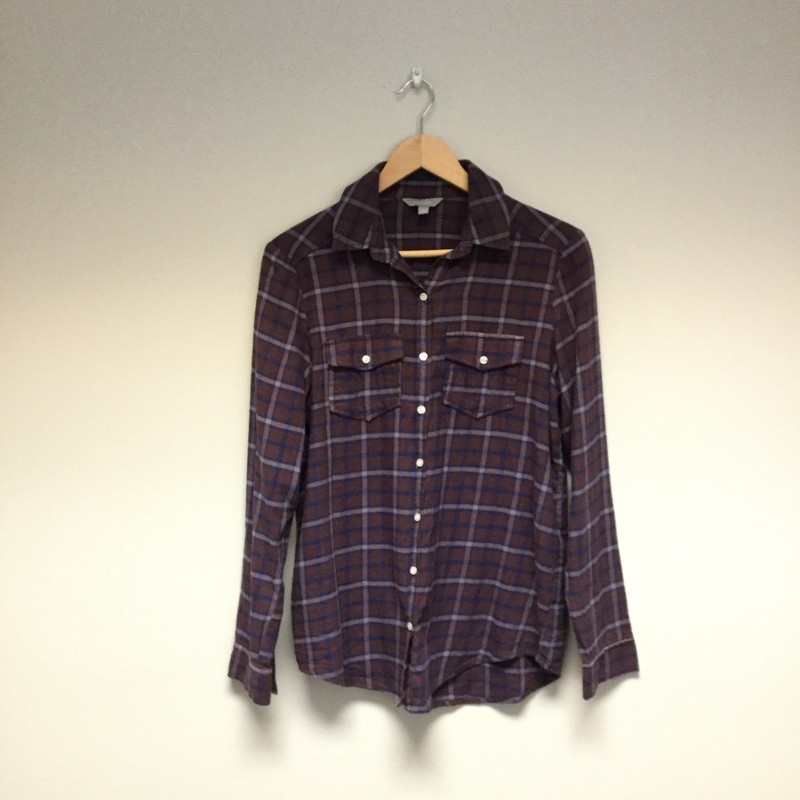 Rubbish Plaid Flannel<br /> Size S<br /> Maroon/Blue<br /> $12.50