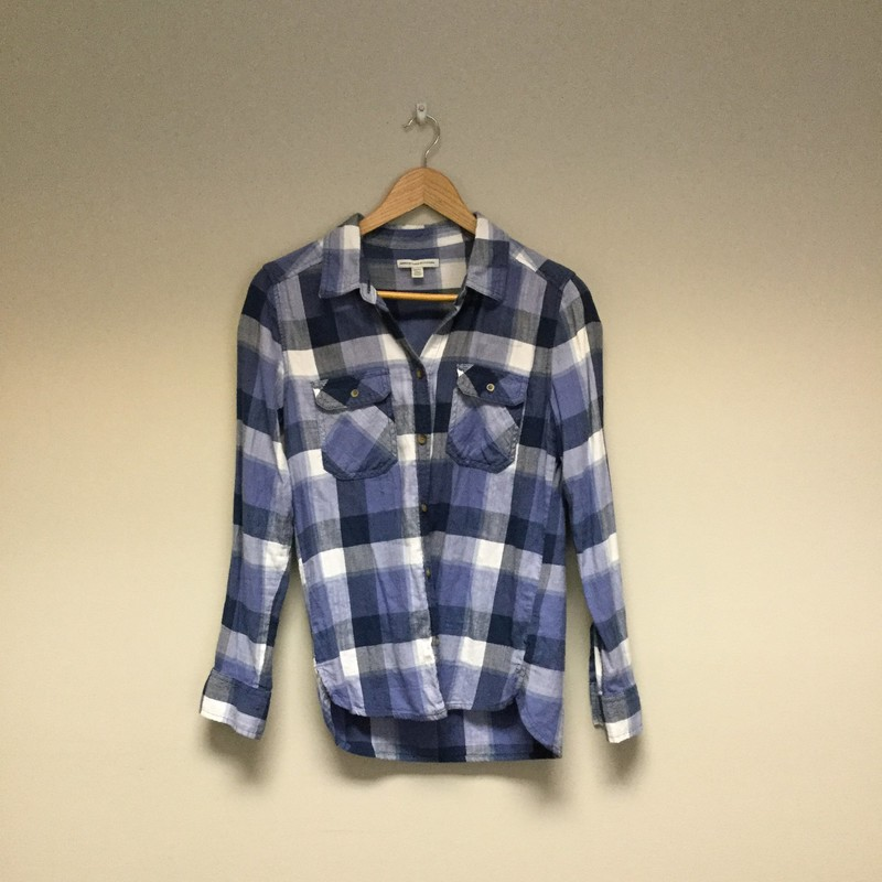 American Eagle Plaid Flannel<br /> Size XS<br /> Blue/White<br /> $9.50